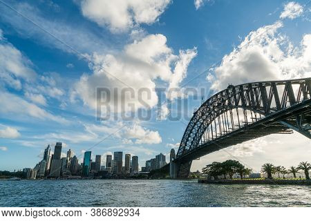 Sydney Harbor Bridge With Cbd Downtown Skyline, In The Afternoon, Sydney, New South Wales, Australia