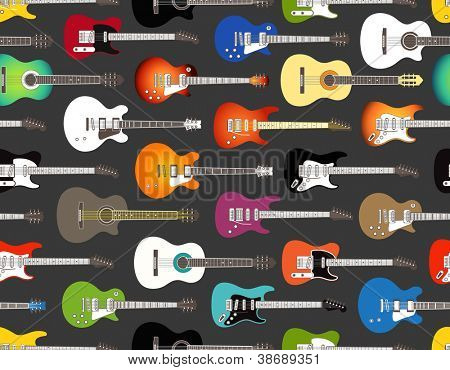 Seamless background of color acoustic and electric guitars. No vector