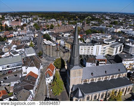 Moenchengladbach City In Germany. Aerial View Of Alter Markt Old Town Square.