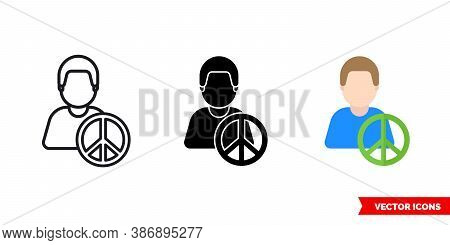 Pacifist Icon Of 3 Types Color, Black And White, Outline. Isolated Vector Sign Symbol.