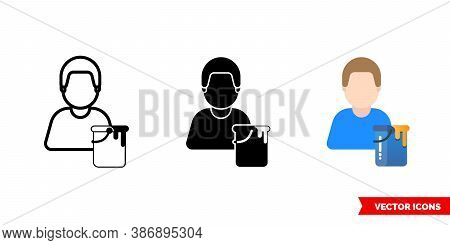 Painter Craftsman Icon Of 3 Types Color, Black And White, Outline. Isolated Vector Sign Symbol.
