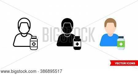 Pharmacist Druggist Icon Of 3 Types Color, Black And White, Outline. Isolated Vector Sign Symbol.