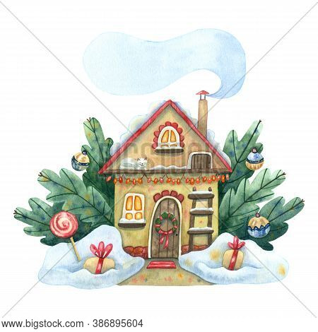 Watercolor Winter House. Cozy Winter Illustration With House Surrounded Snowdrifts, Fir Branches Wit