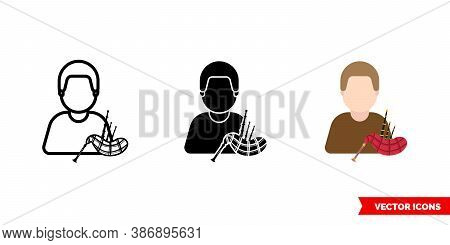 Piper Bagpiper Icon Of 3 Types Color, Black And White, Outline. Isolated Vector Sign Symbol.