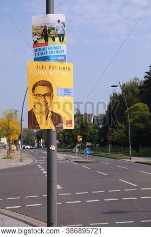 Dortmund, Germany - September 16, 2020: Election Posters Of Afd And Spd Politicians Before Runoff Vo