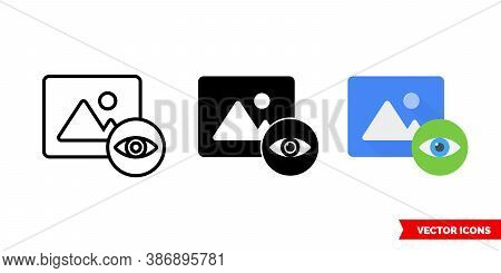 Preview Icon Of 3 Types Color, Black And White, Outline. Isolated Vector Sign Symbol.