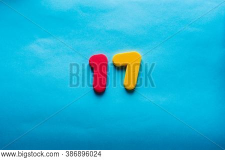 17 Years Old Celebrating Classic Logo. Colored Happy Anniversary 17 Th Template Yellow Red Numbers.