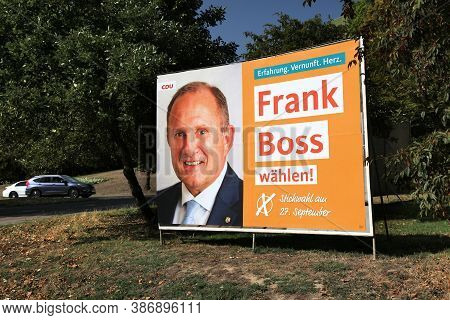 Moenchengladbach, Germany - September 18, 2020: Election Poster Of Cdu Candidate Before Runoff Vote