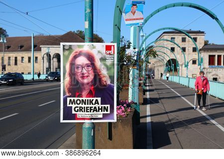 Muelheim A.d. Ruhr, Germany - September 21, 2020: Election Poster Of Spd Candidate Before Runoff Vot