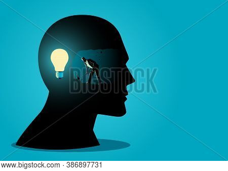 Businessman Digging And Mining To Find Bulb Light, Looking For Ideas Or How To Find The Right Busine