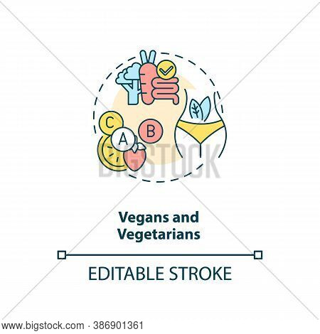 Vegans And Vegetarians Concept Icon. People In Supplements Need Idea Thin Line Illustration. Plant-b