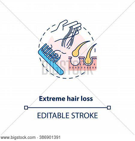 Extreme Hair Loss Concept Icon. Vitamin Shortages Symptom Idea Thin Line Illustration. Essential Hai