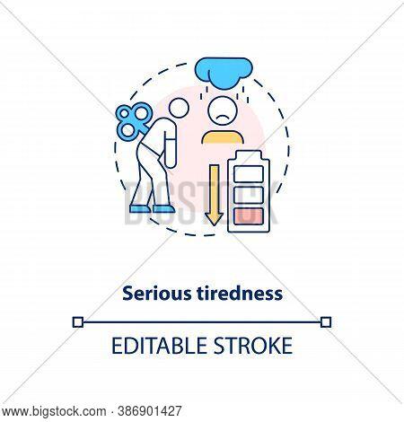 Serious Tiredness Concept Icon. Vitamin Shortages Symptom Idea Thin Line Illustration. Vitamin B12 D