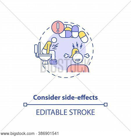 Consider Side-effects Concept Icon. Adequate Vitamins Intake Idea Thin Line Illustration. Vitamins A