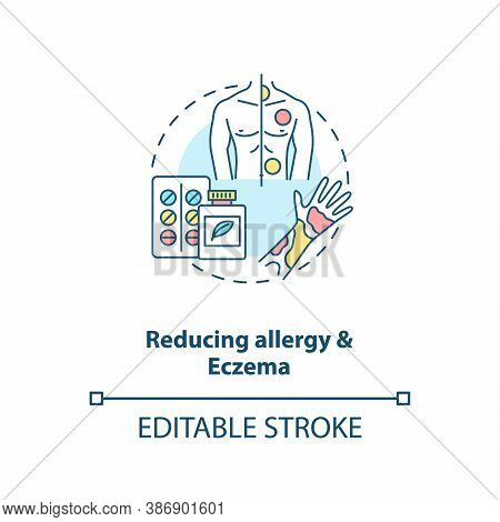 Reducing Allergy And Eczema Concept Icon. Probiotics Health Benefits Idea Thin Line Illustration. Ec