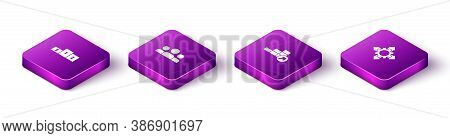 Set Isometric Business Podium, Users Group, Financial Growth And Project Team Base Icon. Vector