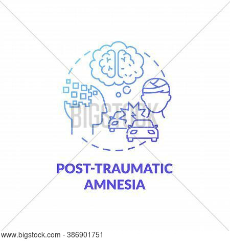 Post Traumatic Amnesia Blue Gradient Concept Icon. Head Injury After Accident. Patient With Memory L