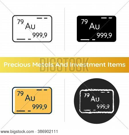 Gold Icon. Precious Metal For Bank Deposit. Golden Bullion. Financial Wealth And Stability. Atomic N
