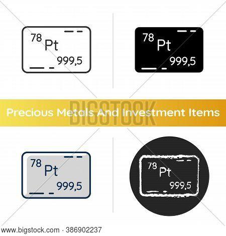 Platinum Icon. Precious Metal. Bullion For Deposit. Industrial Asset. Standard Of Wealth. Atomic Num
