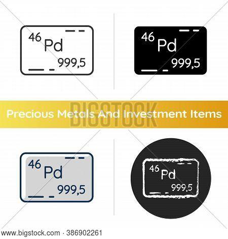 Palladium Icon. Precious Metal. Bullion For Deposit. Investment Asset. Commodity Value. Atomic Numbe
