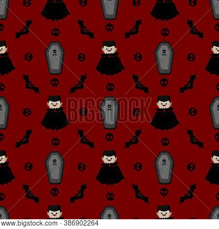 Halloween Dracula Vector Pattern. Vampire In Cartoon Style. Kawaii Character. Trick Or Treat. Cute S
