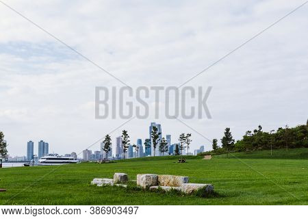 Lawn With Trees And View Of Manhattan In The Background. Park In The Governors Island