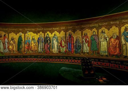 Edinburgh, Great Britain - September 10, 2014: This Is A Panorama Of The Rulers Of Scotland In The H
