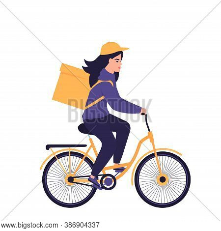 The Girl Courier Delivers Food On A Bicycle.
