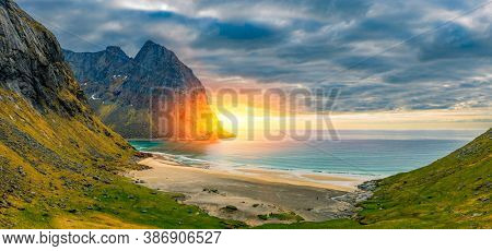Panorama Of Kvalvika Beach on the Lofoten Islands, Norway