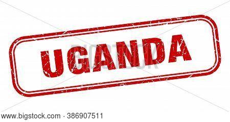 Uganda Stamp. Uganda Red Grunge Isolated Sign
