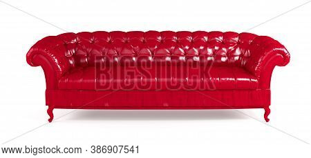 Red Quilted Leather Sofa Isolated On White Background Front View. Template For Advertising, Design,