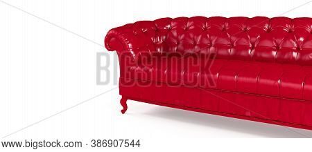Red Quilted Leather Sofa Isolated On White Background Side View. Template For Advertising, Design, S