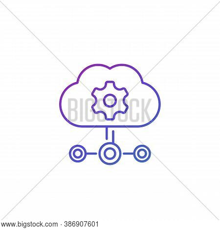 Edge Computing Technologies Line Icon With Cloud, Eps 10 File, Easy To Edit