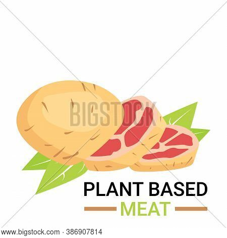 Plant-based Meat Icon. Design By Sliced Potato Like Ham With Leaves. Vegetable Meat Or Artificial Me