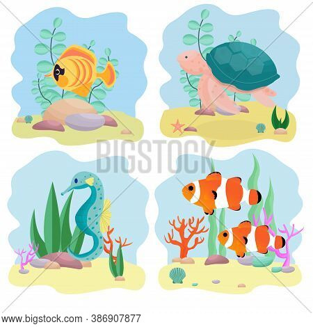 Set Of Aquatic Composition With Underwater Inhabitants, Isolated Clipart, Design Elements On White B