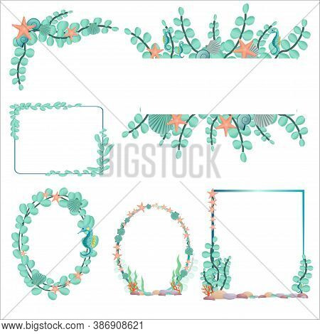 Set From Six Different Various Frames In Marine, Underwater Style In Vector Design. Graphic Colorful