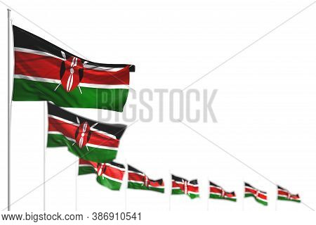 Nice Kenya Isolated Flags Placed Diagonal, Picture With Soft Focus And Place For Text - Any Occasion