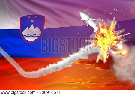 Strategic Rocket Destroyed In Air, Slovenia Supersonic Missile Protection Concept - Missile Defense