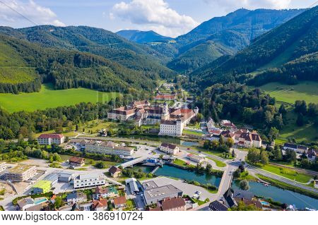 Lilienfeld - Small Town In Lower Austria. View To The Abbey Monastery And The Traisen River And The