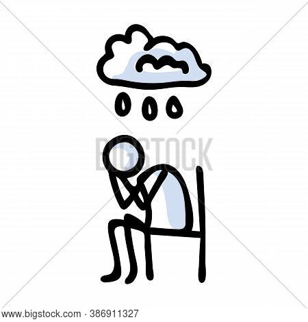 Hand Drawn Stickman Sad Crying Concept. Simple Outline Mental Health Doodle Icon Clipart. For Depres