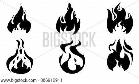 Fire Flames, Set Vector Icons. Flames Icons. Flame Silhouettes. Black Firing Icons, Warning Symbols
