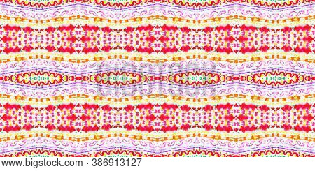 Seamless Watercolor Peru Pattern. Vintage Grunge Native Fabric Design. Multi Colorful Rapport. Abstr