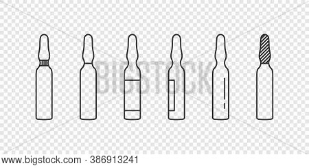 Medical Ampoules Concept. Linear Ampoules Icons On Transparent Background. Vector Illustration
