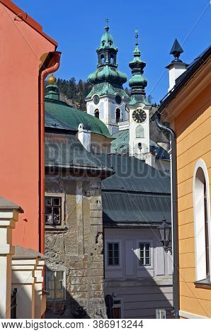 Street View Of Colorful Historical Architecture Of Little Historic Minig Town Banska Stiavnica In Sl