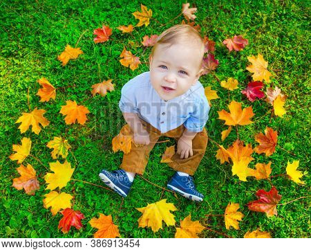Small Child Playing With Colorful Leaves In The Park, In Autumn. Cute Baby Boy Portrait Having Fun O
