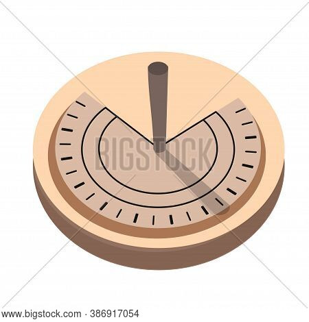 Solar Clock, Sun Watch Isolated On White Background Stock Vector Illustration. Obsolete Stationery T
