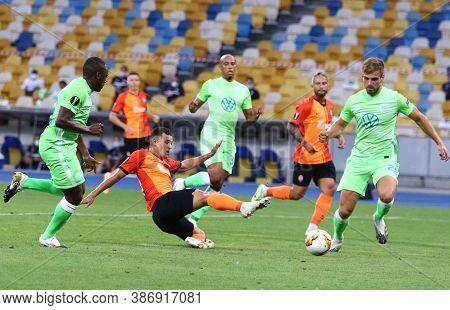 Kyiv, Ukraine - August 5, 2020: Junior Moraes Of Shakhtar Donetsk (c) Kicks A Ball During The Uefa E