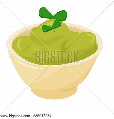 Traditional Mexican Food Guacamole, Isolated On White Background Stock Vector Illustration. Bright,