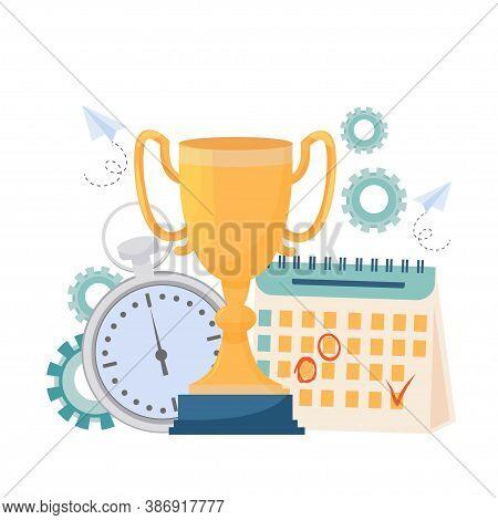 Golden Cup, Calendar, Stopwatch Simbol Award For Productivity, Success Stock Vector Illustration. Gr