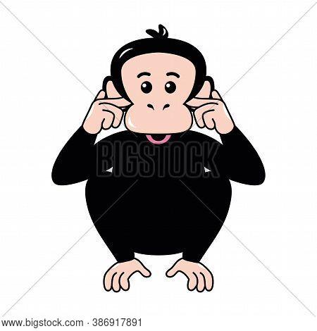Isolated Surprised Emoji Funny Chimpanzee Icon - Vector